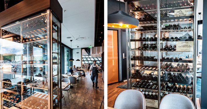 Vinmontre av glass. Charles Tjessem Restaurant Havnespeilet. Foto: Otto von Munchow