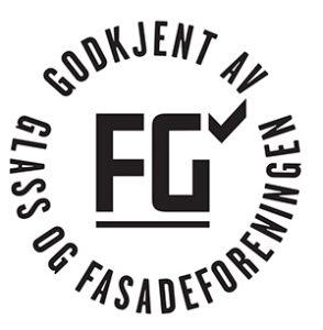 Illustrasjon. FG-godkjent av Glass og Fasadeforeningen