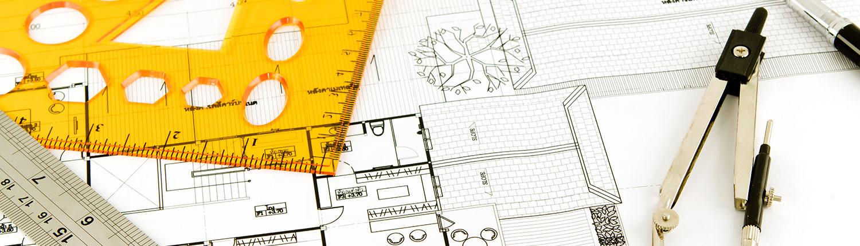 Foto av passer, linjal og tegning