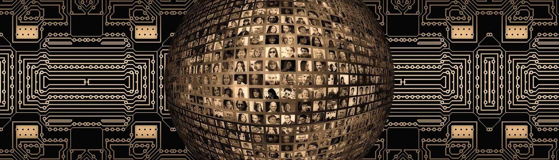 Foto av ansikter i datastrøm